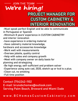 Project Manager Custom Cabinetry Shop