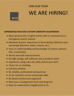 Experienced High-End Custom Cabinetry Salesperson