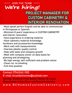 Project Manager for Custom Cabinetry & Interior Re...